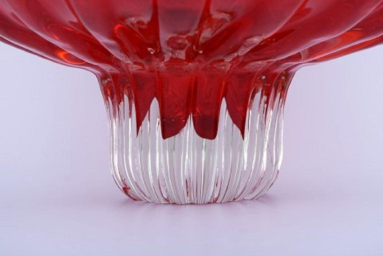 Mid-Century Modern Large Murano Bowl on Foot in Red and Clear Mouth Blown Art Glass For Sale