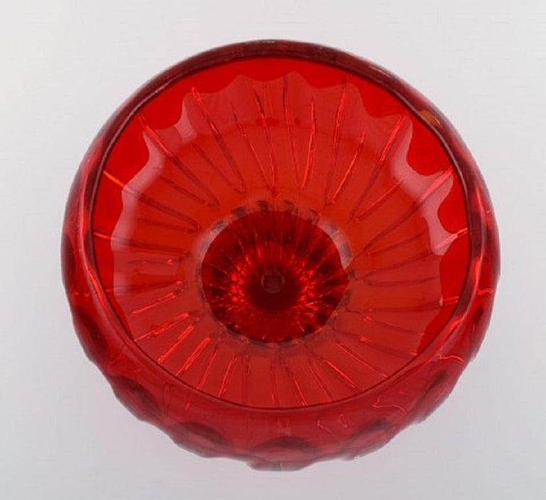 Italian Large Murano Bowl on Foot in Red and Clear Mouth Blown Art Glass For Sale