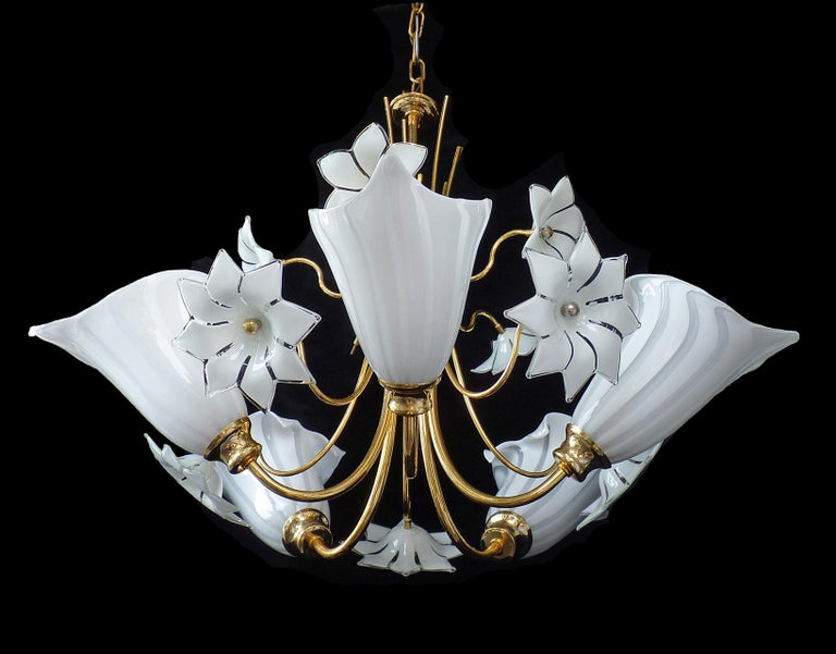 Hollywood Regency Large Murano Calla Lily & Flower Chandelier by Franco Luce, Art Glass Gilt Brass For Sale