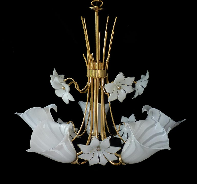 Italian Large Murano Calla Lily & Flower Chandelier by Franco Luce, Art Glass Gilt Brass For Sale