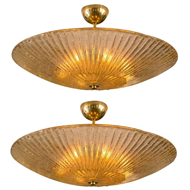 Large Murano Champagne Blown Ceiling Fixture For Sale