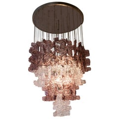 Large Murano Chandelier in Clear and Pink Lilac Glass, attributed to Carlo Nason