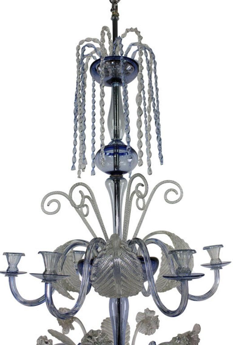 Italian Large Murano Chandelier in Pale Blue Glass