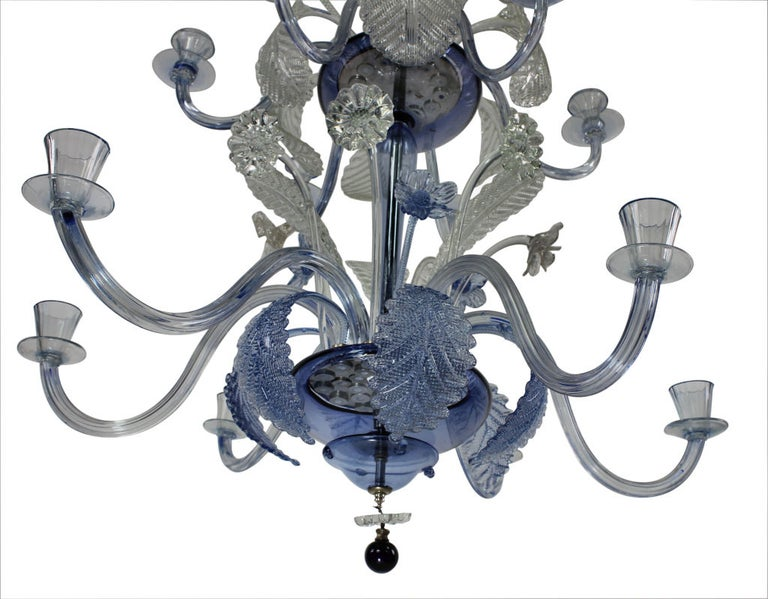 Large Murano Chandelier in Pale Blue Glass In Excellent Condition In London, GB