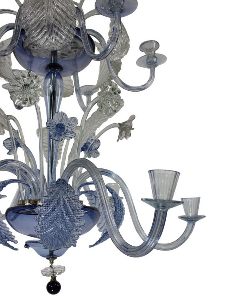 Mid-20th Century Large Murano Chandelier in Pale Blue Glass