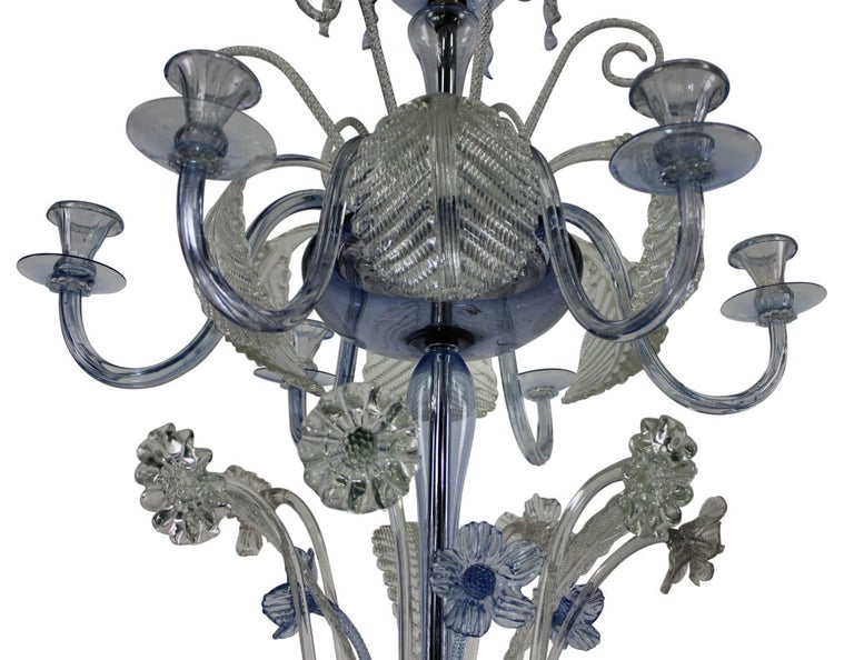 Blown Glass Large Murano Chandelier in Pale Blue Glass