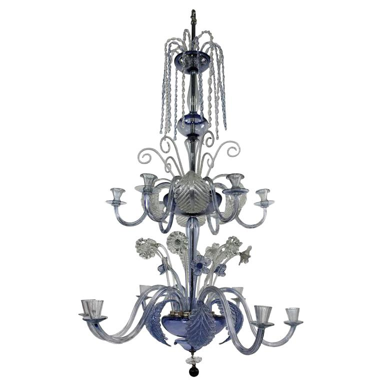 Large Murano Chandelier in Pale Blue Glass