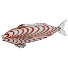 Large Murano Clear, White and Red Glass Fish, Italy, circa 1970