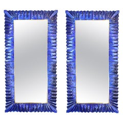 Large Murano Cobalt Blue Glass Mirror, in Stock