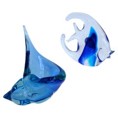 Large Murano Conch Shell Barbini Sommerso and Angel Fish with Label, 1970s