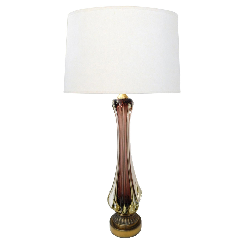 Large Murano Flavio Poli for Seguso Sommerso 1950s Aubergine Fin Lamp