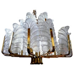 Large Murano Glass and Brass Chandelier by Carl Fagerlund for Orrefors