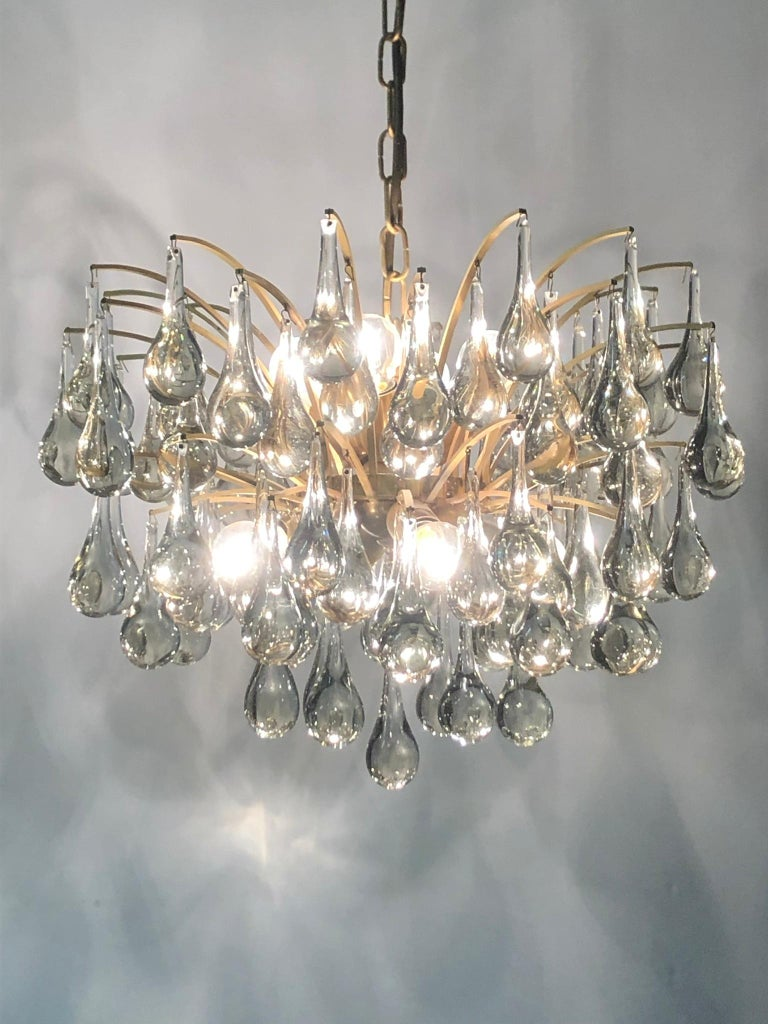 Wonderful, elegant, midcentury glass chandelier, by Ernst Palme, Germany, circa 1970s.