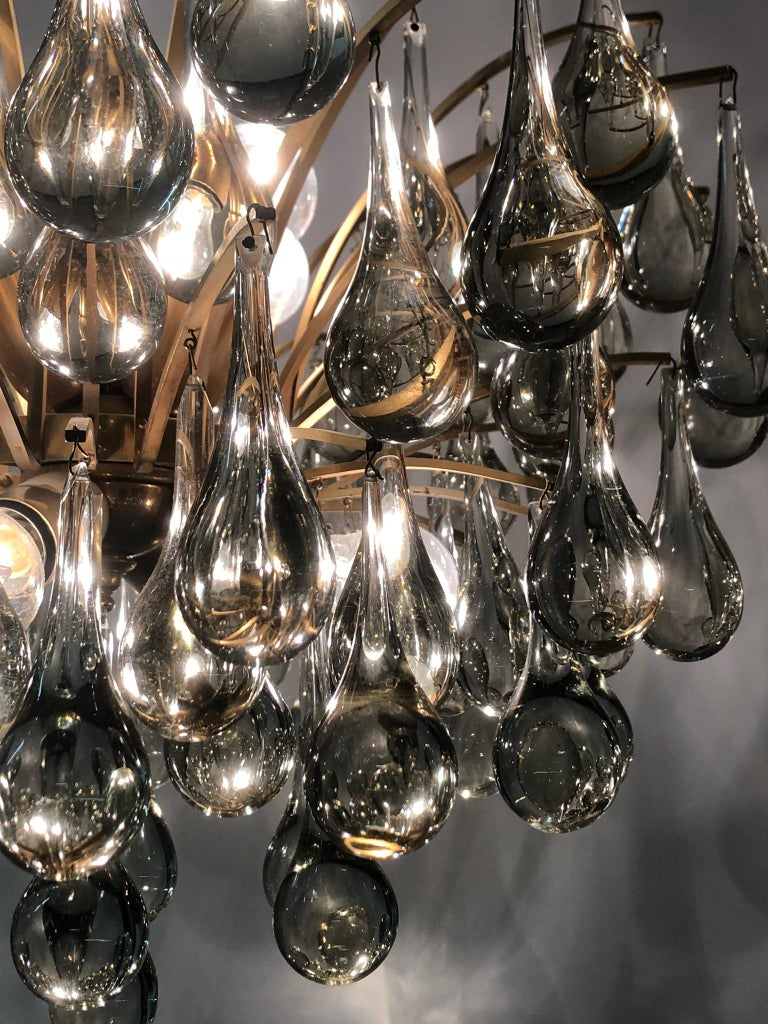 German Large Murano Glass and Brass Chandelier by Ernst Palme, circa 1970s For Sale