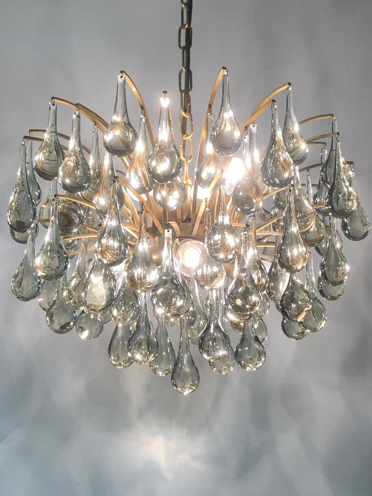 Large Murano Glass and Brass Chandelier by Ernst Palme, circa 1970s In Good Condition For Sale In Wiesbaden, Hessen