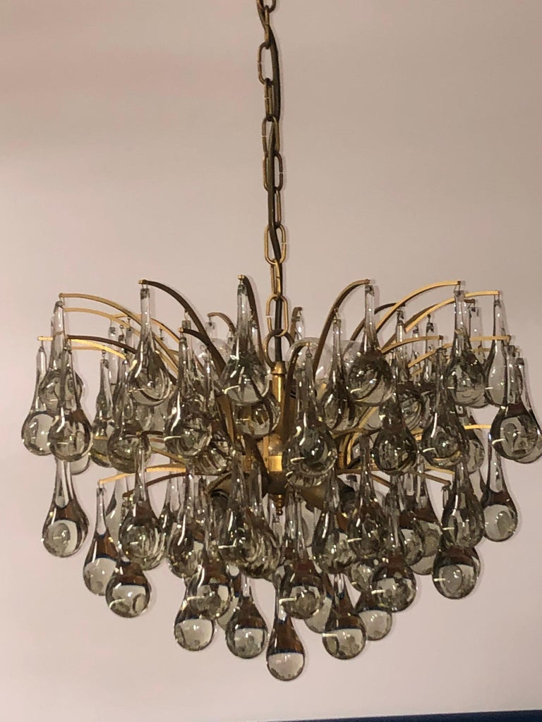 Late 20th Century Large Murano Glass and Brass Chandelier by Ernst Palme, circa 1970s For Sale