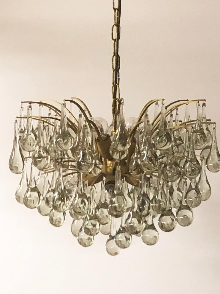 Large Murano Glass and Brass Chandelier by Ernst Palme, circa 1970s For Sale 1