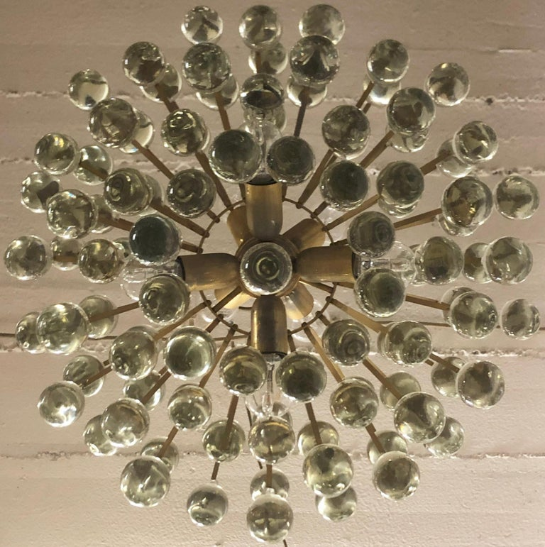 Large Murano Glass and Brass Chandelier by Ernst Palme, circa 1970s For Sale 2