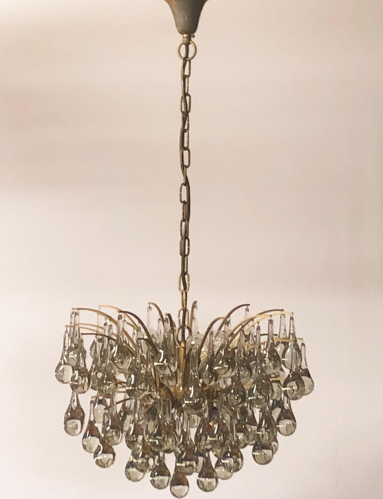 Large Murano Glass and Brass Chandelier by Ernst Palme, circa 1970s For Sale 3