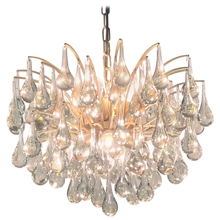 Large Murano Glass and Brass Chandelier by Ernst Palme, circa 1970s For Sale