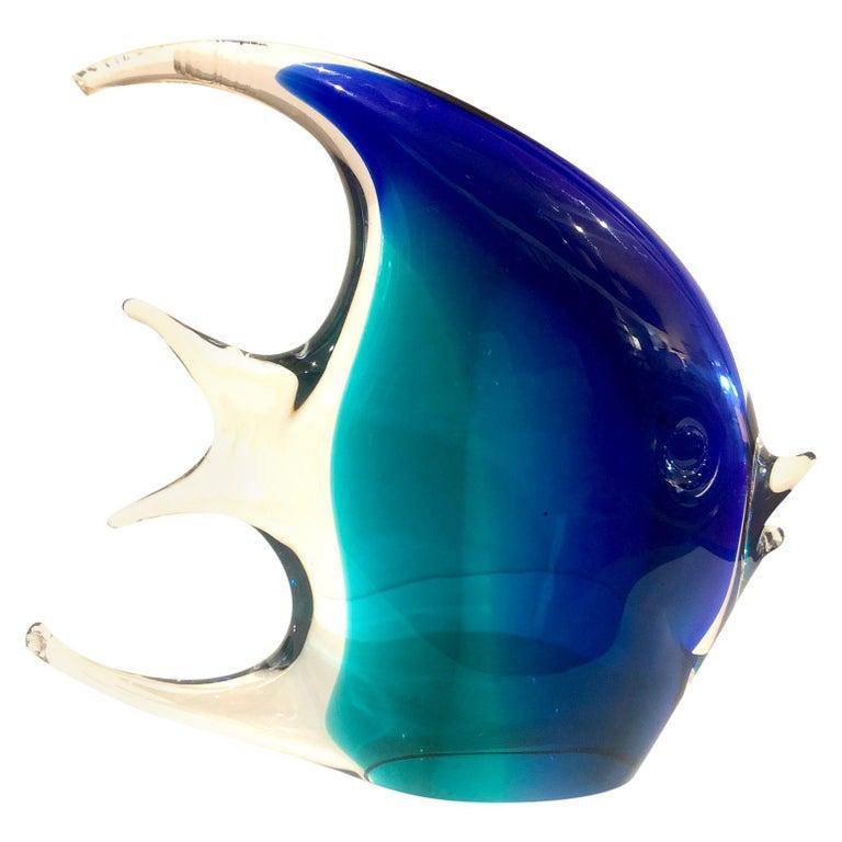 circa 1970s Aqua Blue Peach Pink Clear Mid Century Modern Murano Glass Vincenzo Nason Tropical Fish Angel Fish Sculptures Set of 3