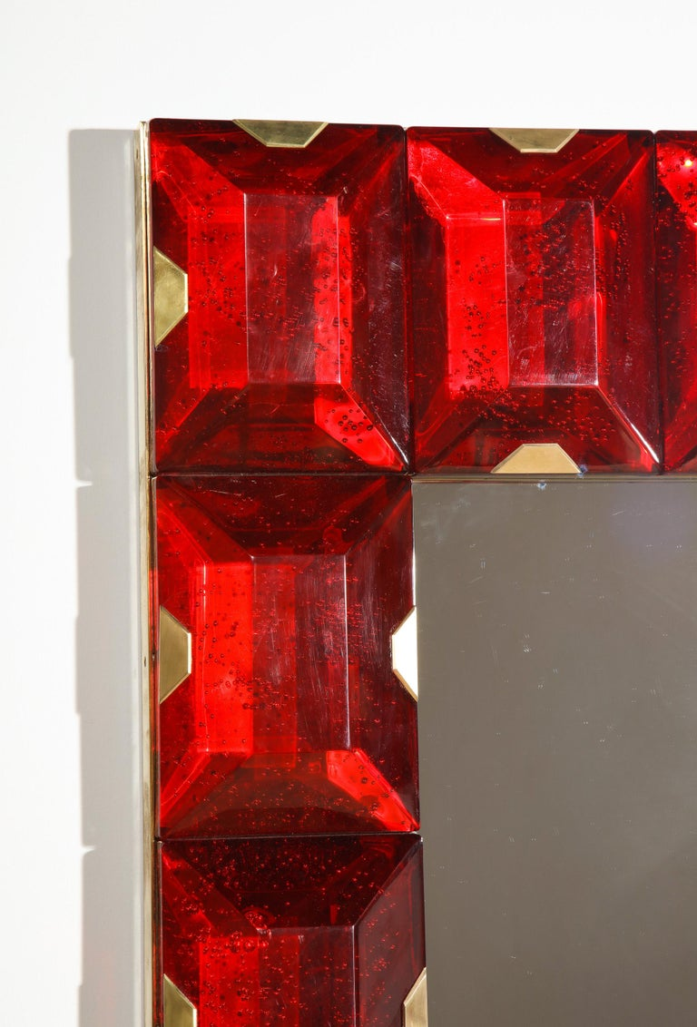 Mid-Century Modern Large Murano Glass Block Mirror For Sale