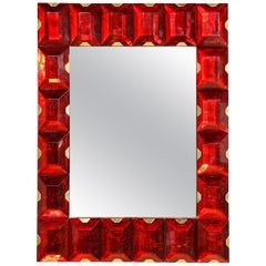 Large Murano Glass Block Mirror