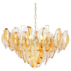 Large Murano Glass Chandelier Leaves Form by Mazzega, Italy, 1970s