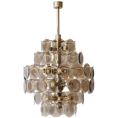 Large Murano Glass Chandelier with 71 Murano Glass Discs