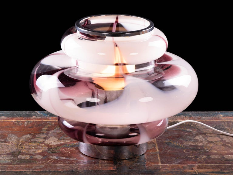 Mid-Century Modern 1970 Italy Mazzega 'Tulip' Table Lamp Violet Murano Glass & Chrome For Sale