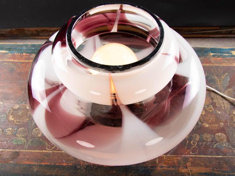 Italian 1970 Italy Mazzega 'Tulip' Table Lamp Violet Murano Glass & Chrome For Sale