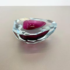 Large Murano Glass Faceted Sommerso Bowl Ashtray by Cenedese, Murano Italy 1970s