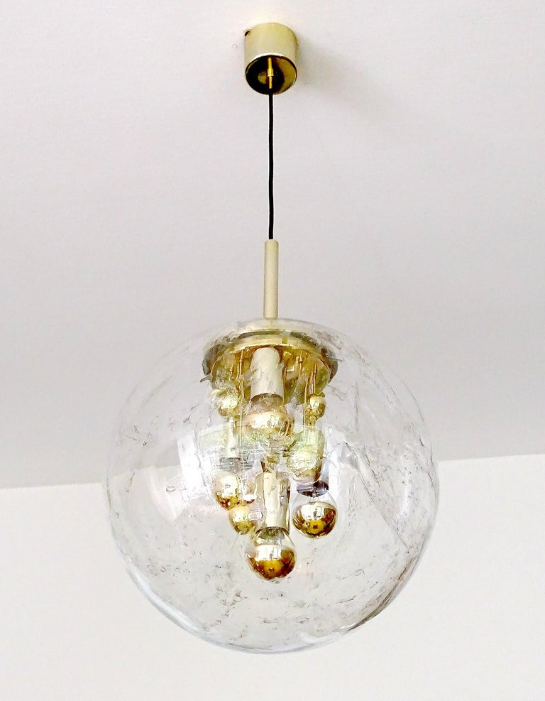 Mid-Century Modern Large Murano Glass Globe Chandelier Pendant Lamp,  Stilnovo Gio Ponti Era For Sale