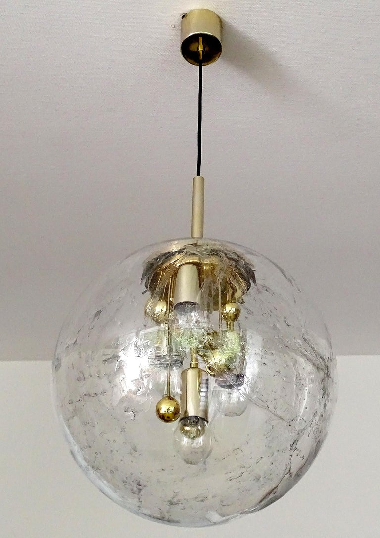 Large Murano Glass Globe Chandelier Pendant Lamp,  Stilnovo Gio Ponti Era In Excellent Condition For Sale In Bremen, DE