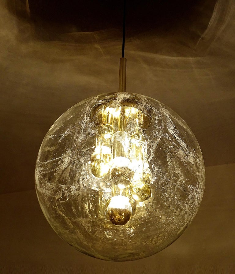Mid-20th Century Large Murano Glass Globe Chandelier Pendant Lamp,  Stilnovo Gio Ponti Era For Sale