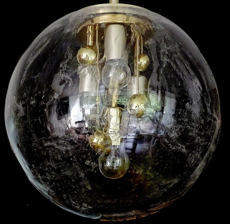 Aluminum Large Murano Glass Globe Chandelier Pendant Lamp,  Stilnovo Gio Ponti Era For Sale