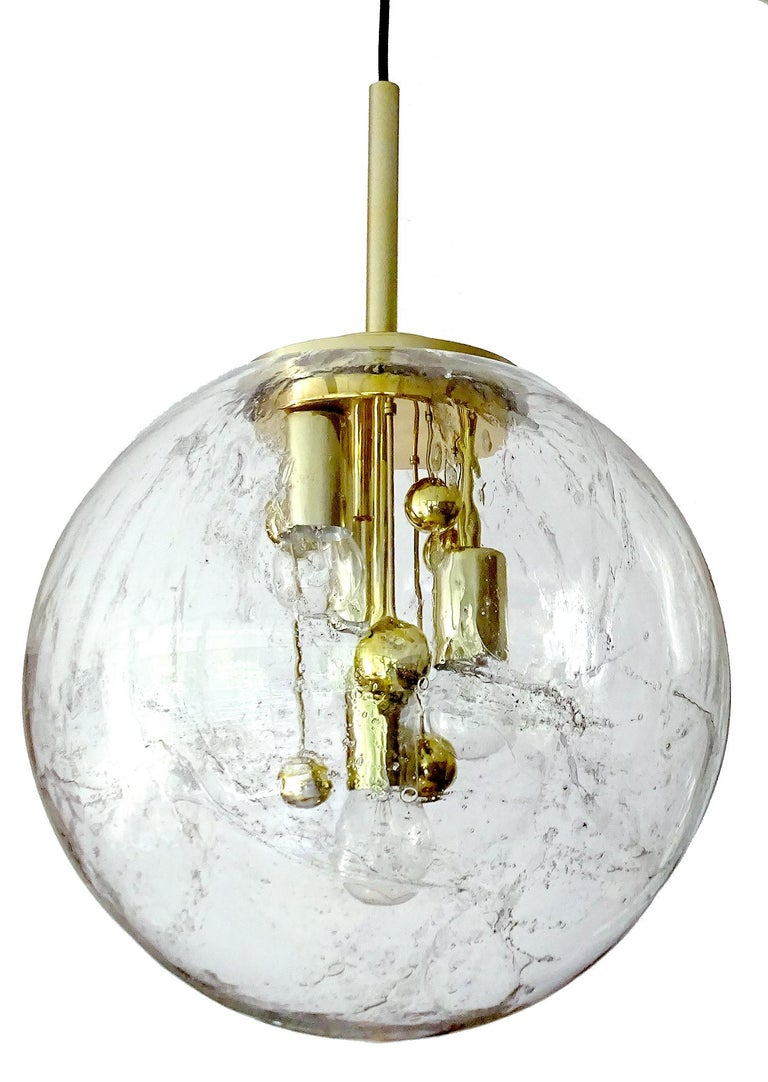 Large Murano Glass Globe Chandelier Pendant Lamp,  Stilnovo Gio Ponti Era For Sale 1