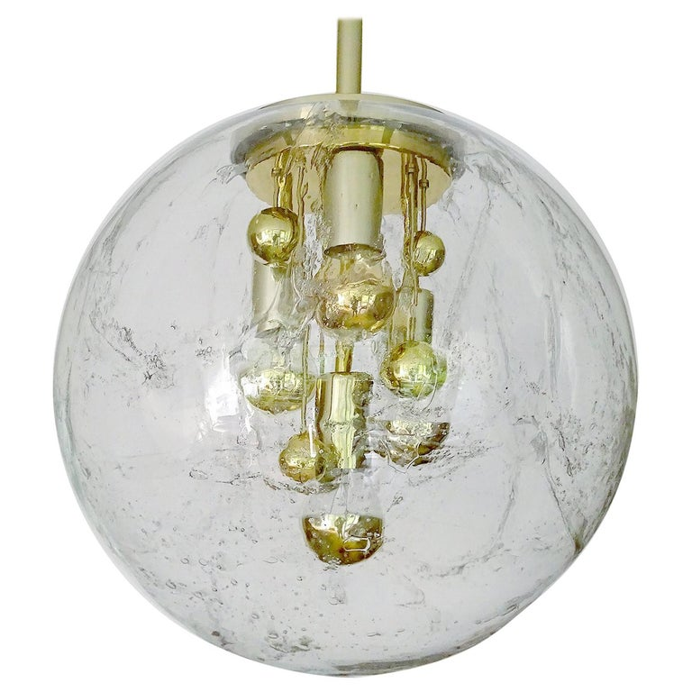 Large Murano Glass Globe Chandelier Pendant Lamp,  Stilnovo Gio Ponti Era For Sale