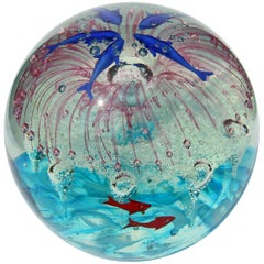 Large Murano Glass Paperweight Internal Decorations of Dolphins and Sea Life