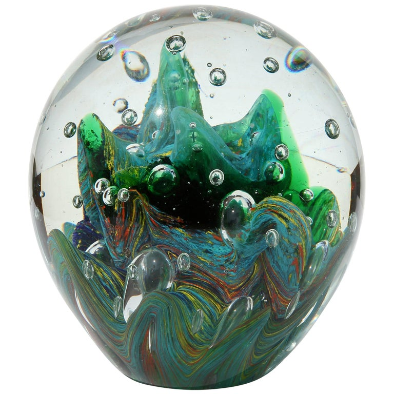 Large Murano Glass Paperweight with Internal Bubbles and Swirls For Sale