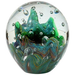 Large Murano Glass Paperweight with Internal Bubbles and Swirls