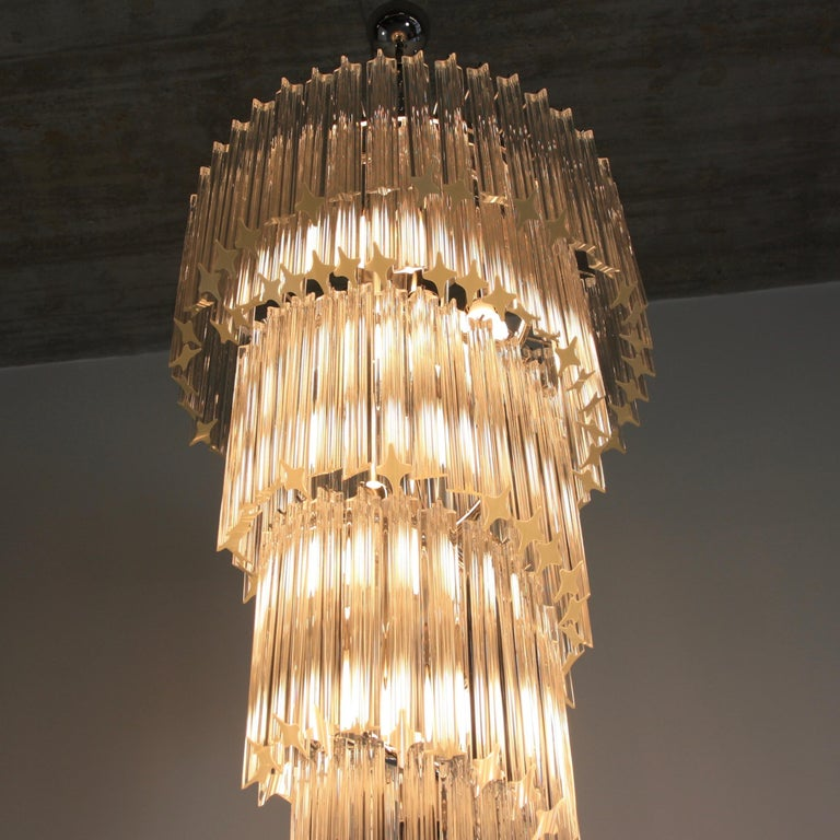 Modern Large Murano Glass Quadriedri Spiral Chandelier For Sale