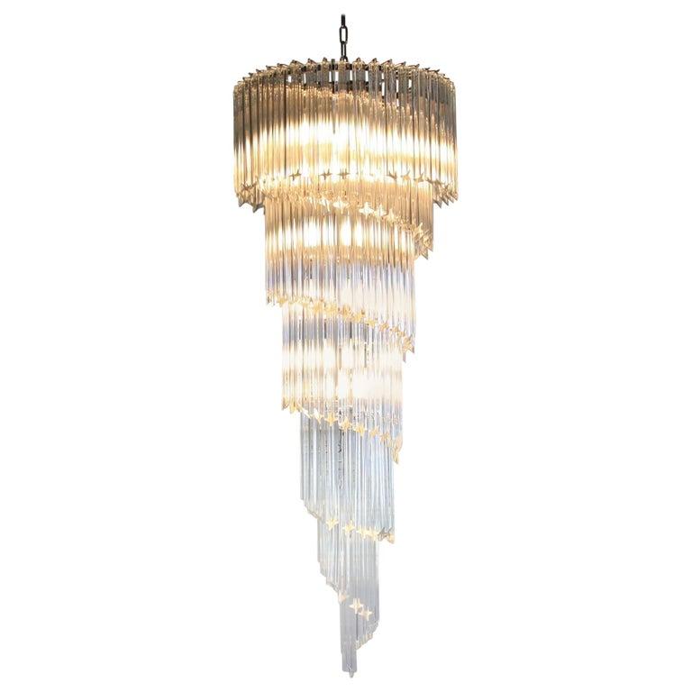 Murano Spiral Chandelier: Large Murano Glass Quadriedri Spiral Chandelier For Sale