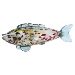Large Murano Glass Red, White and Yellow Fish, Italy circa 1970