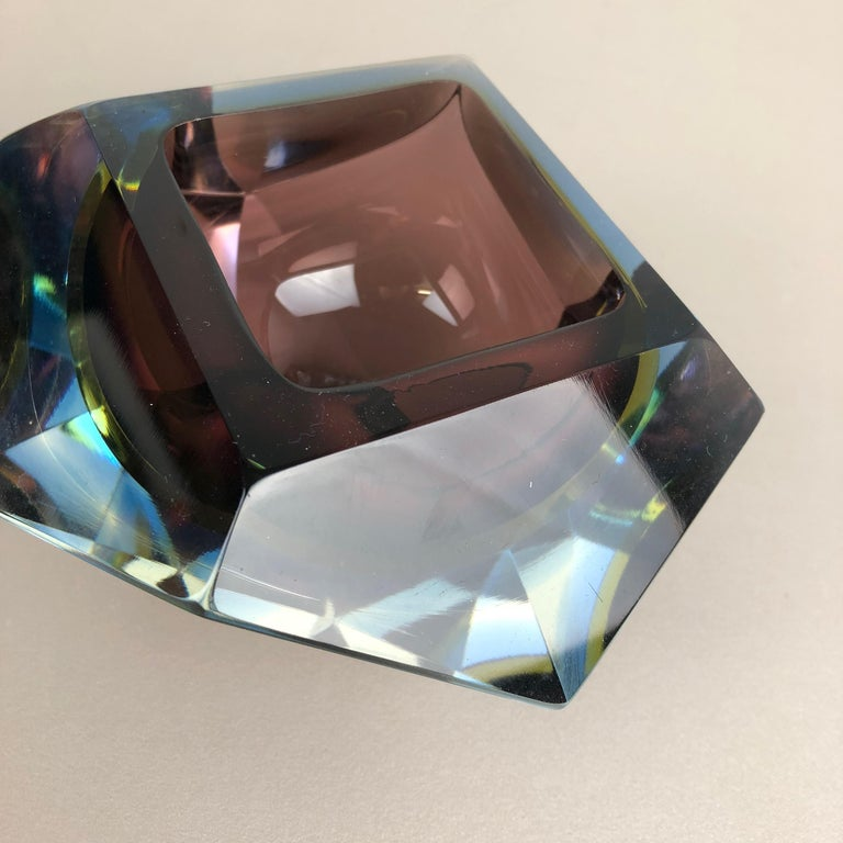 Large Murano Glass Sommerso Bowl Ashtray Element by Flavio Poli, Italy, 1970s For Sale 7
