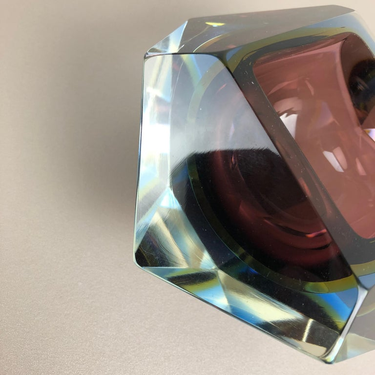 Large Murano Glass Sommerso Bowl Ashtray Element by Flavio Poli, Italy, 1970s For Sale 9