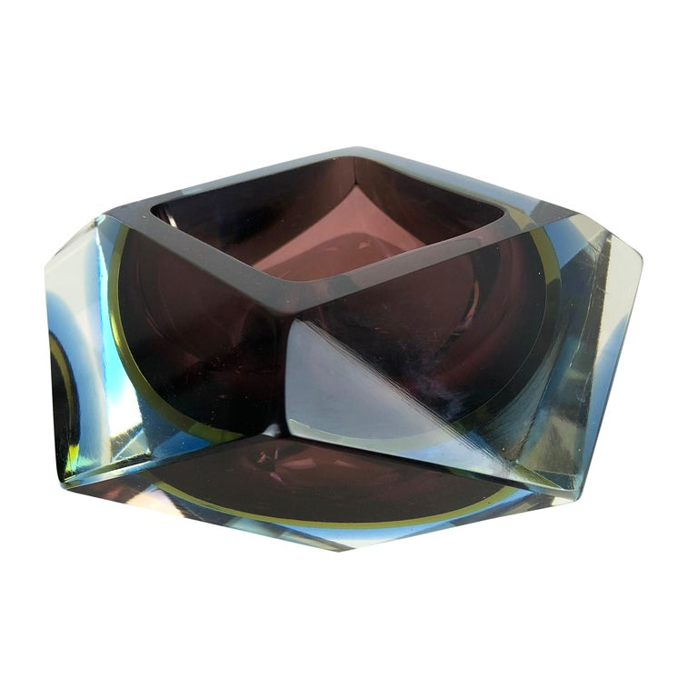 Large Murano Glass Sommerso Bowl Ashtray Element by Flavio Poli, Italy, 1970s For Sale