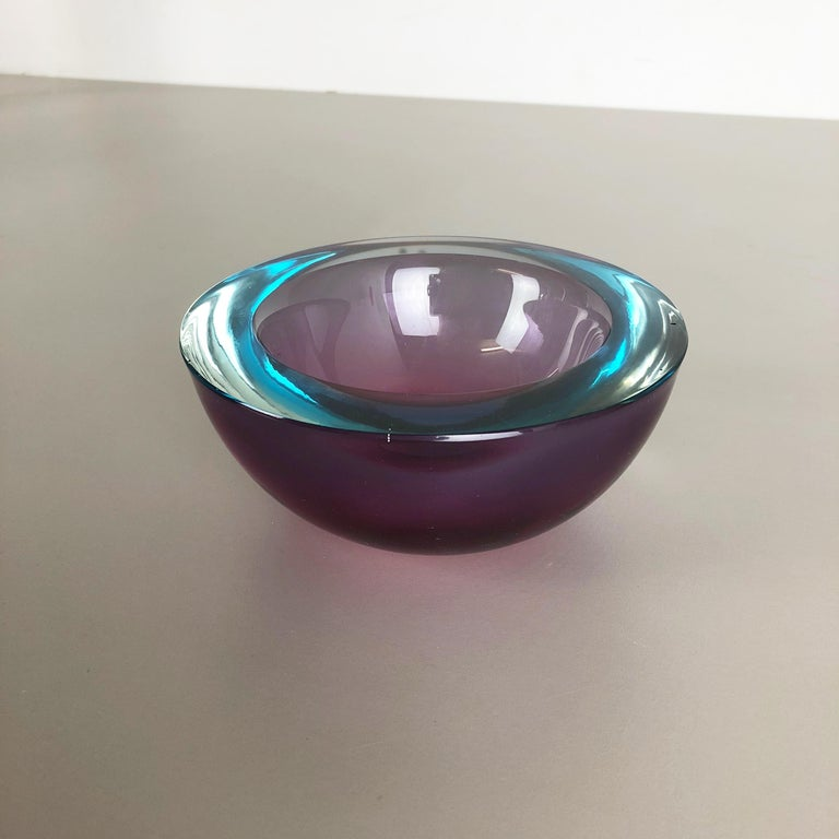 20th Century Large Murano Glass Sommerso Bowl Element Flavio Poli, Attributed, Italy, 1970s For Sale