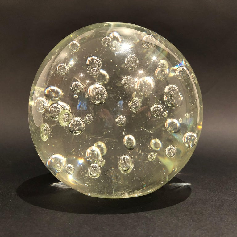 Mid-Century Modern Large Murano Glass Sphere Paperweight with Internal Bubbles, 1970s, Italy For Sale