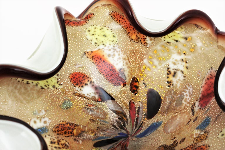 Large Murano Glass Tutti Frutti Flower Bowl by Dino Martens For Sale 3